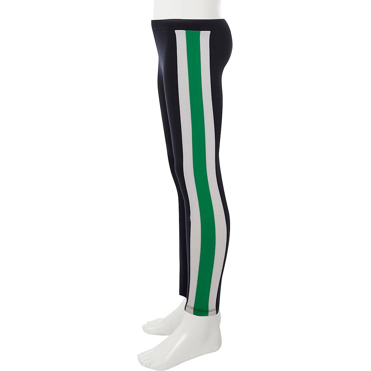 Girls navy side stripe ponte leggings