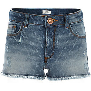 Short en denim à logo RI pour fille