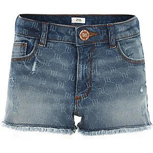 RI monogram denim shorts voor meisjes