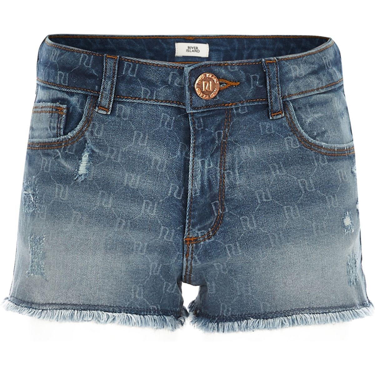 Girls RI monogram denim shorts