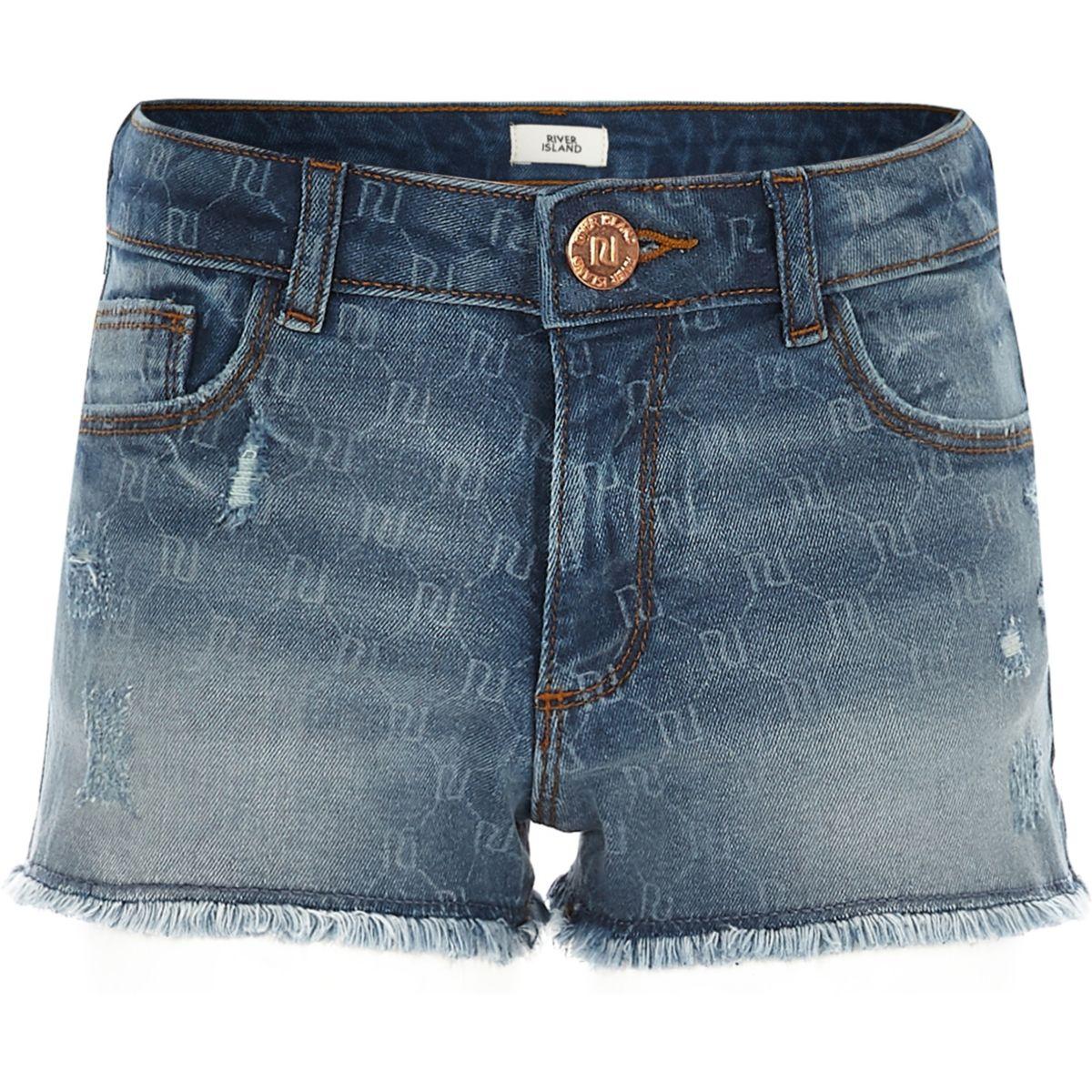 Girls RI monogram denim shorts