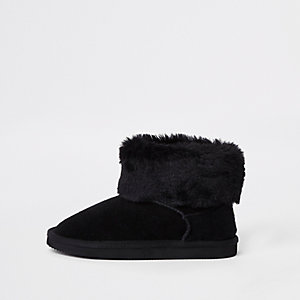 Girls black suede faux fur lined boots