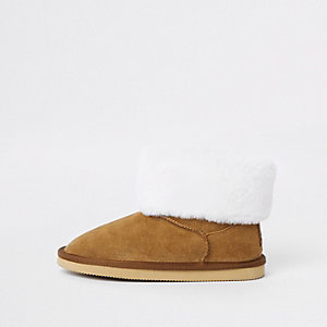 Girls brown suede faux fur lined boots