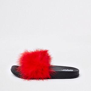 Claquettes rouges à plumes pour fille
