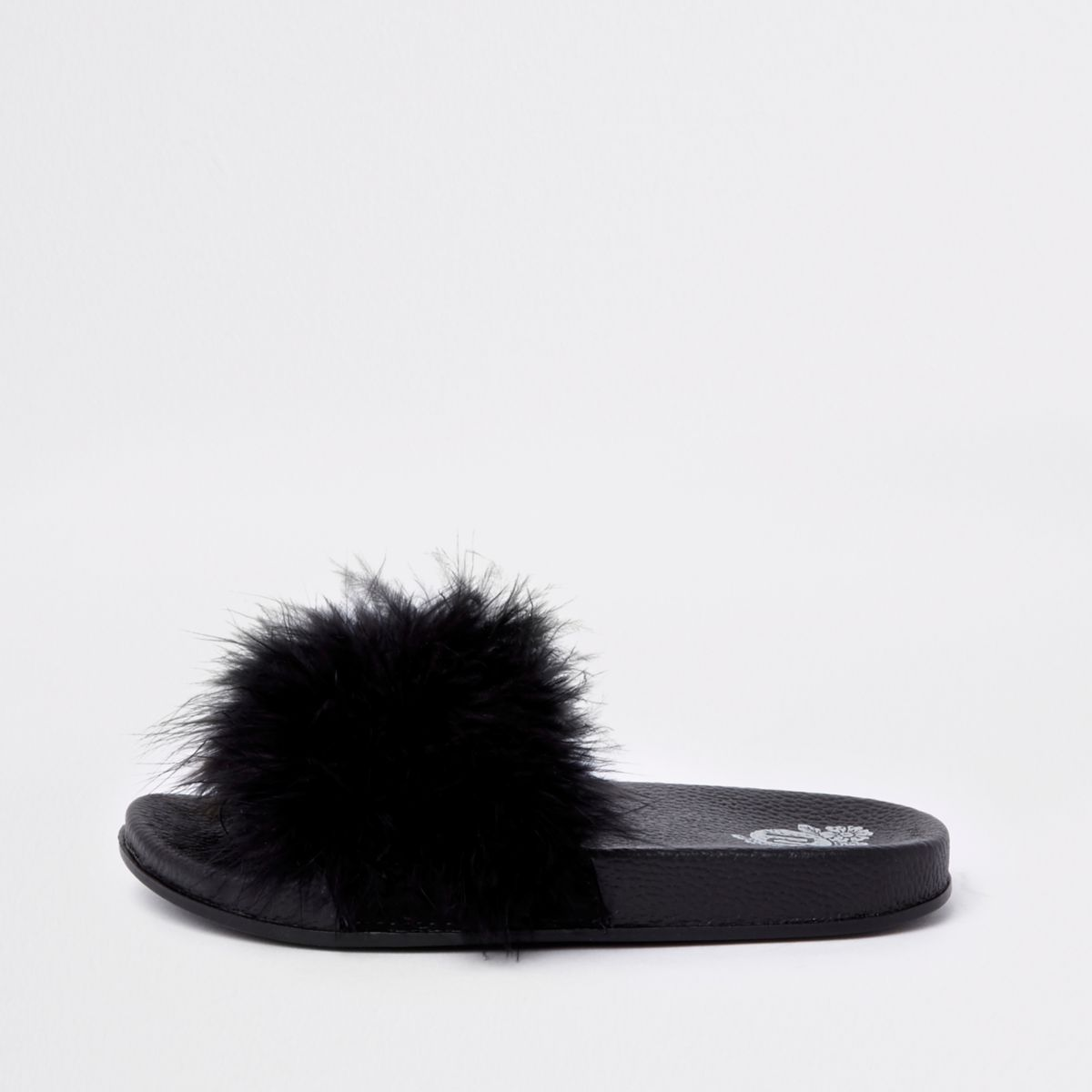 Girls Black Feather Sliders by River Island