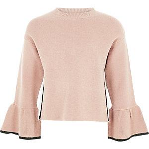 Girls pink knit bell sleeve jumper