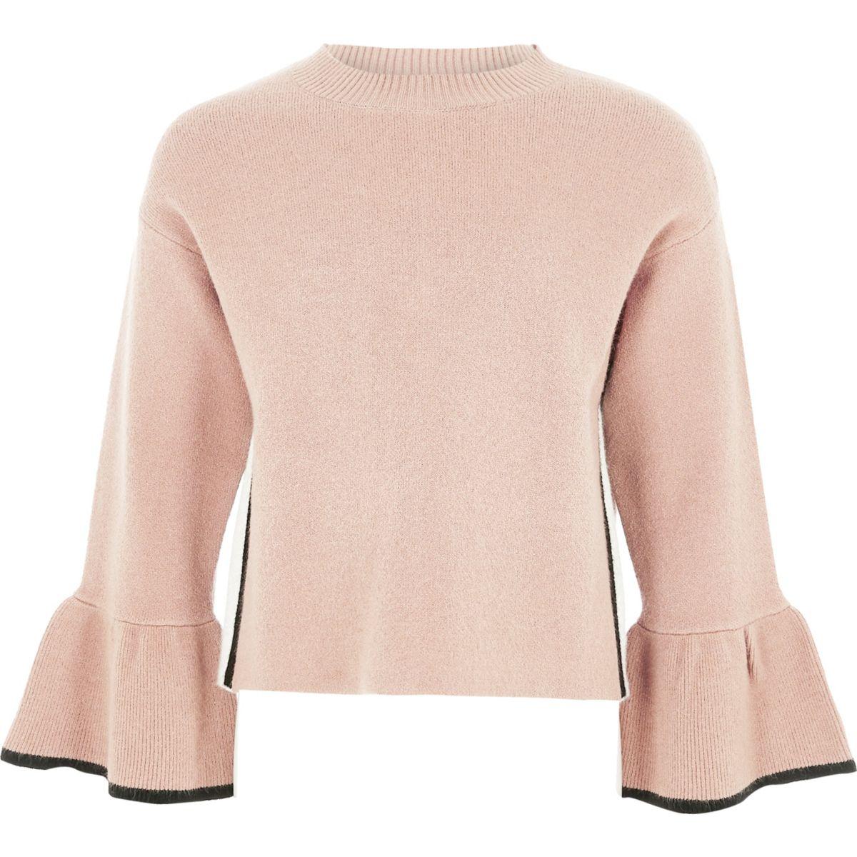 Girls pink knit bell sleeve sweater