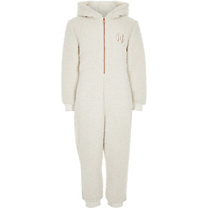 Girls cream fleece 'amour' onesie