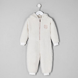 Mini girls cream fleece 'amour' onesie