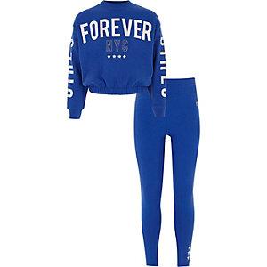 Outfit met blauw sweatshirt met 'forever'-print voor meisjes