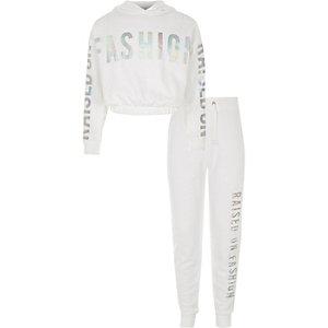 Outfit met witte hoodie met 'raised on fashion'-print voor meisjes