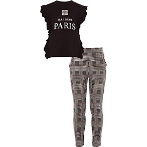 Ensemble avec t-shirt noir à inscription « Paris » et volants fille