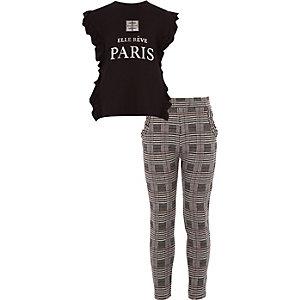 Outfit met Zwart T-shirt met 'Paris'-print en ruches voor meisjes