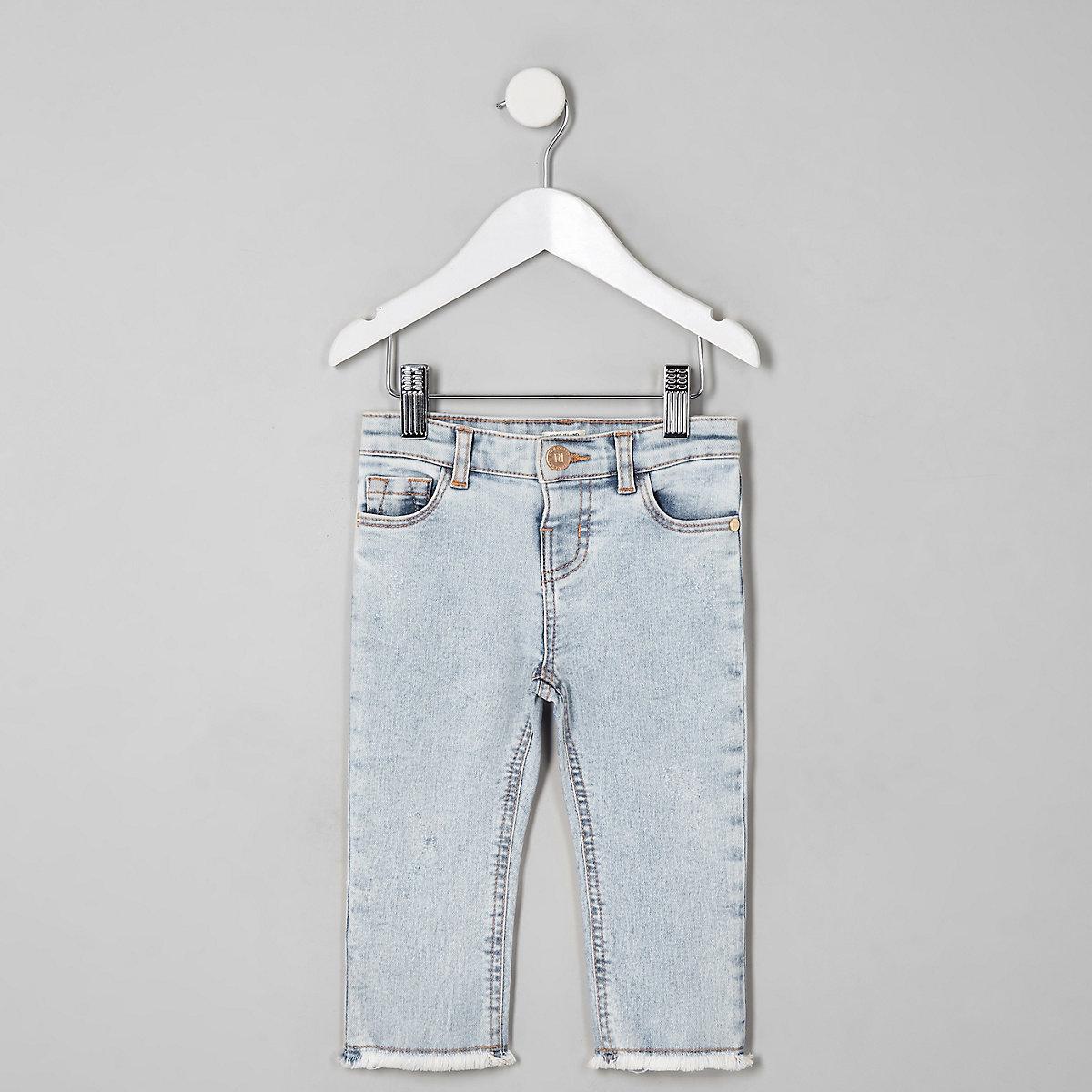 Mini girls light blue straight leg jeans