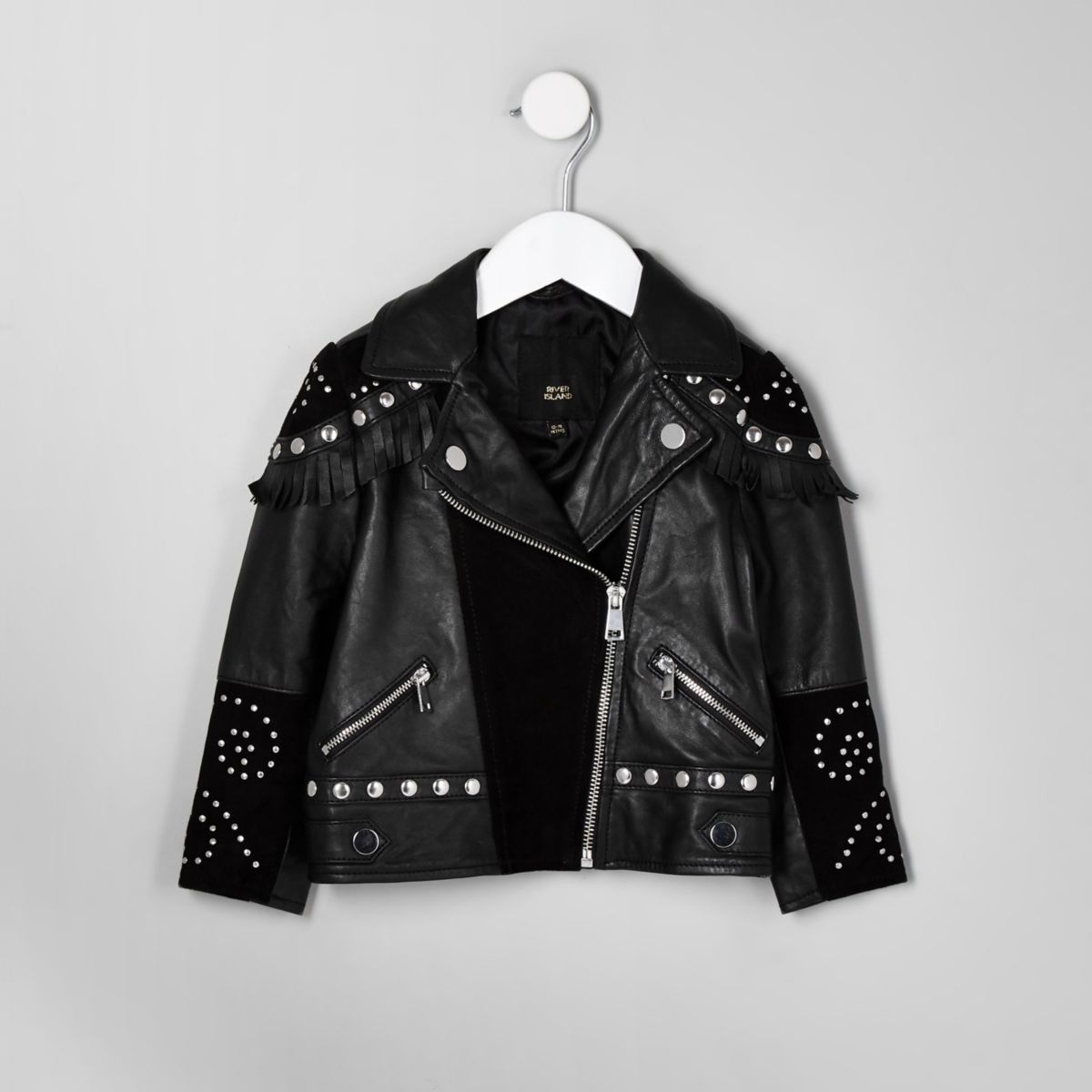 RI 30 mini girls black studded biker jacket