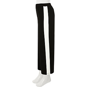 Girls black stripe wide leg trousers
