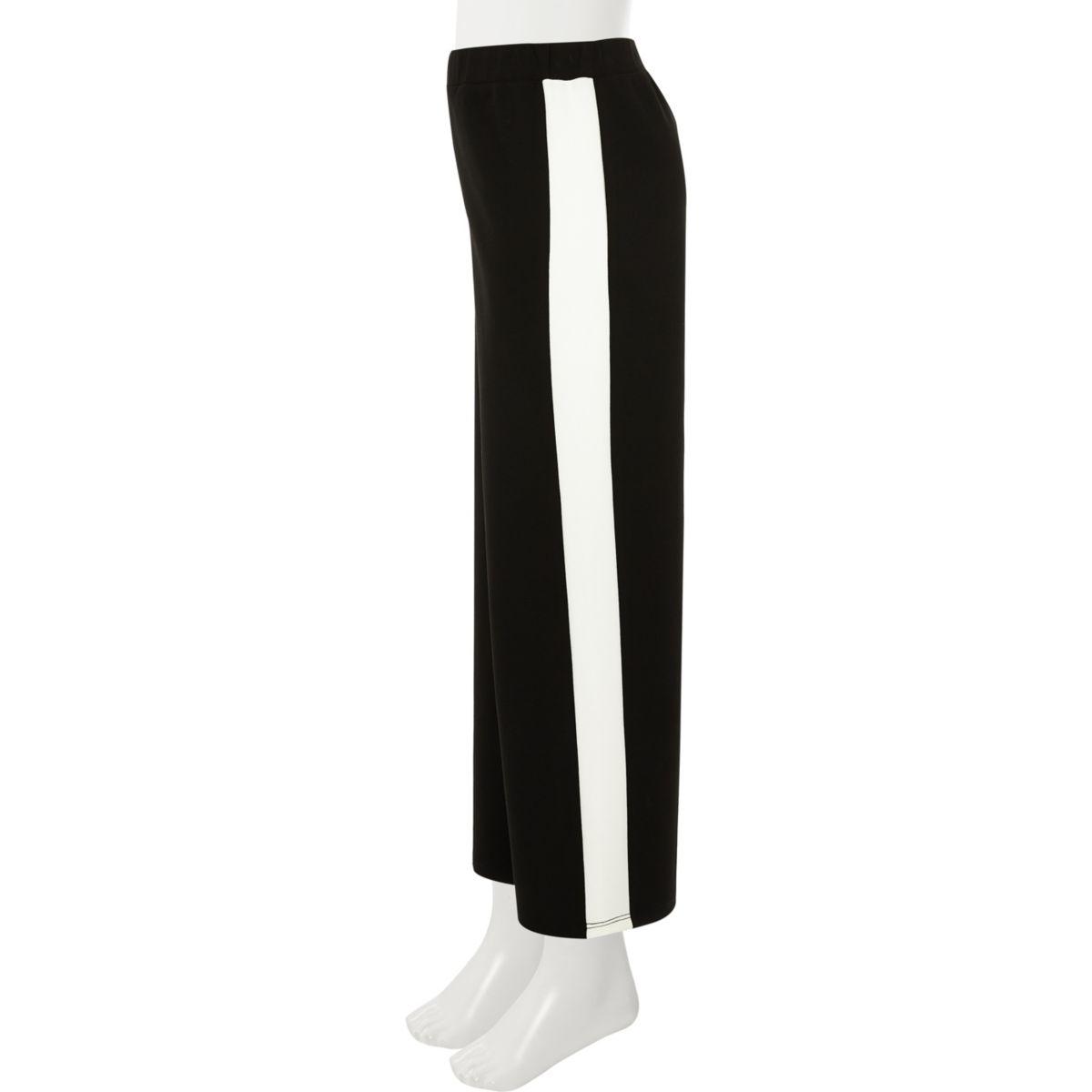 Girls black stripe wide leg pants