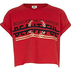 Girls red 'beautiful' tape crop T-shirt