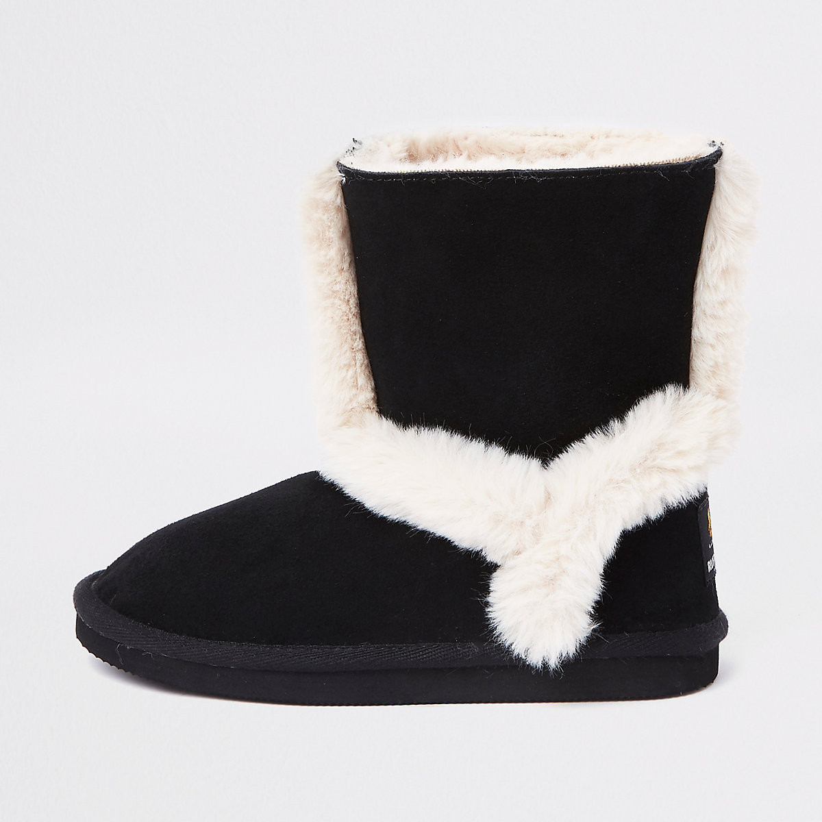 Girls black suede faux fur lined ankle boots