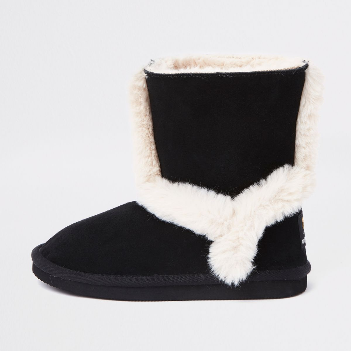 Girls black suede fur lined ankle boots