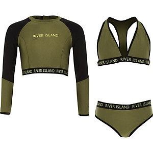 Ensemble bikini trois pièces kaki pour fille