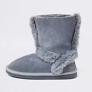 Girls blue suede fur lined ankle boots