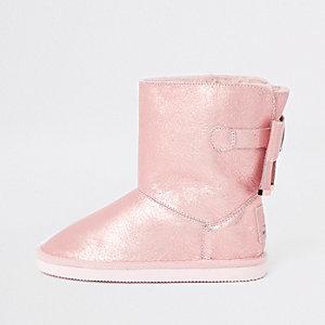 Metallic laarzen gevoerd met bont voor meisjes