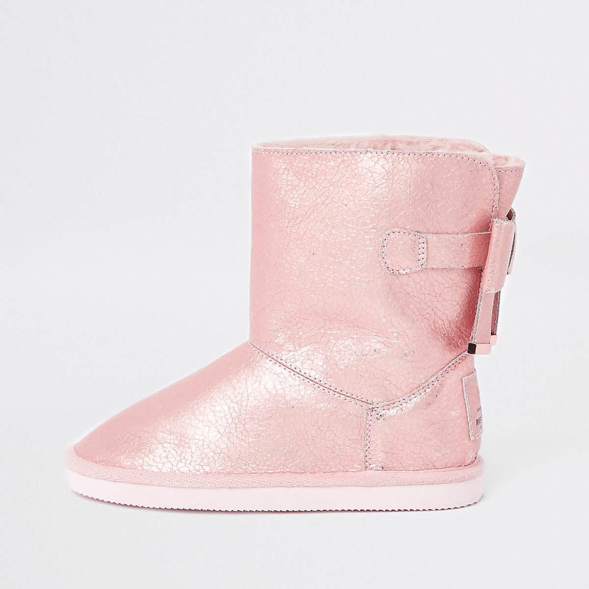 Girls metallic faux fur lined boot