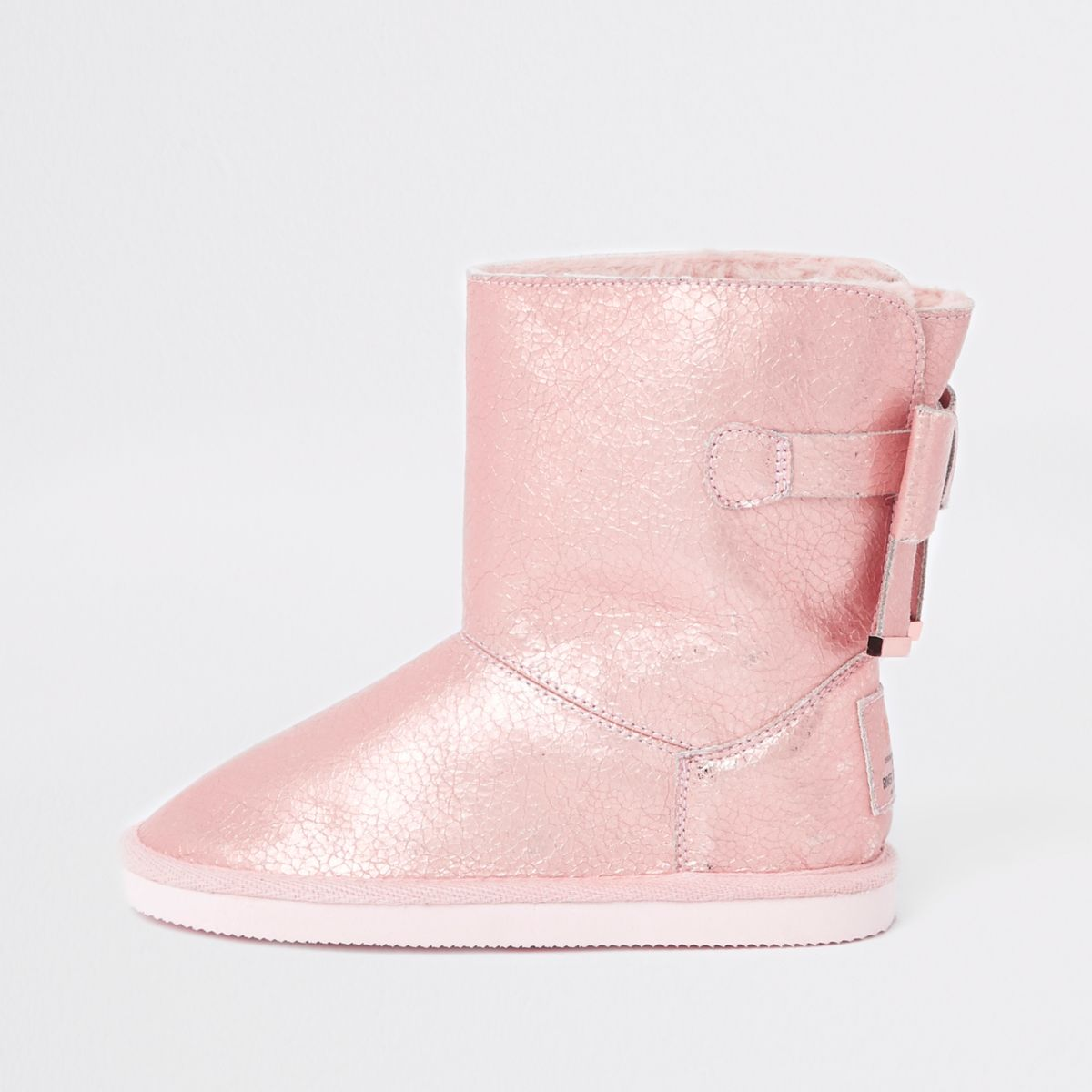 Girls metallic fur lined boot