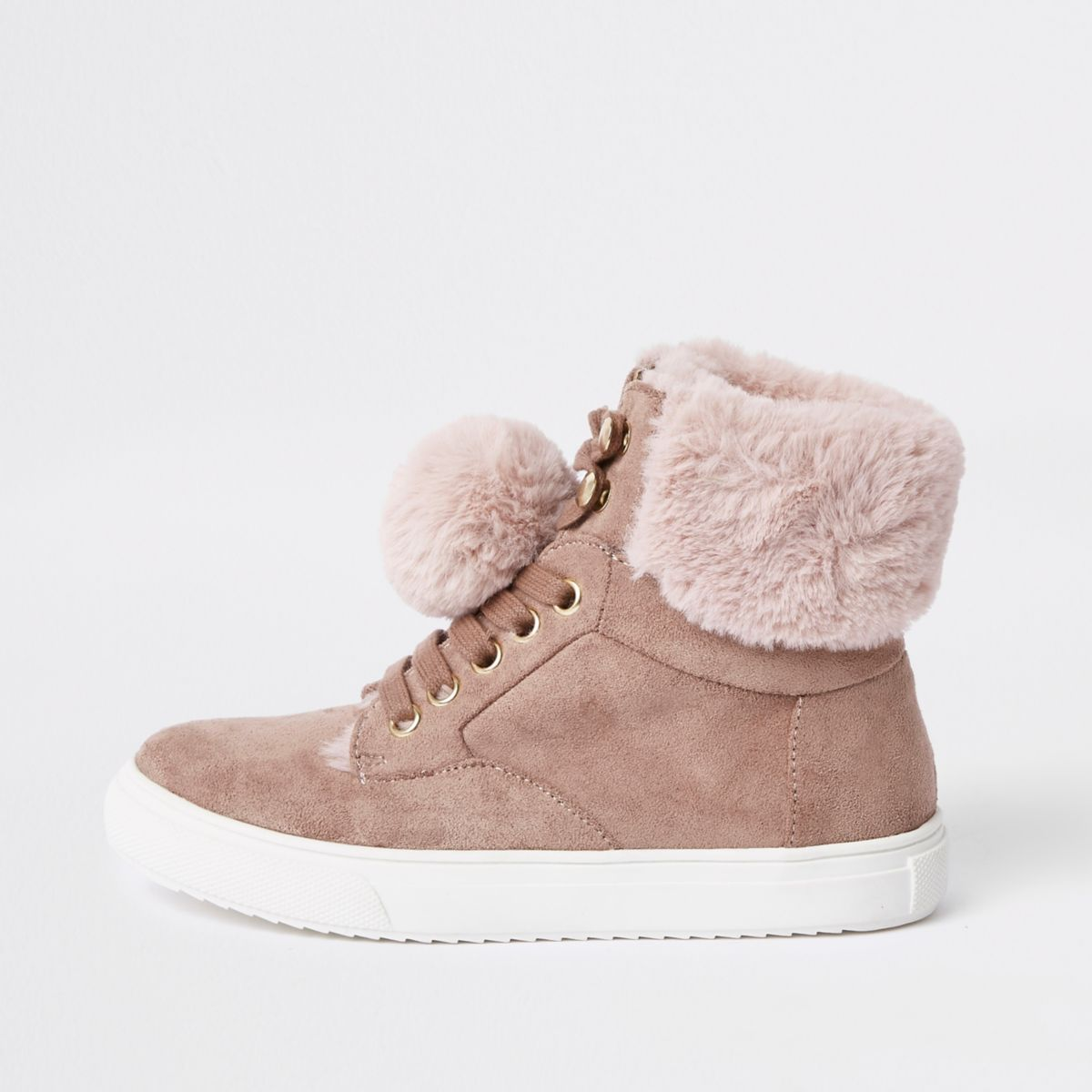 Girls pink suede faux fur pom hi top trainers