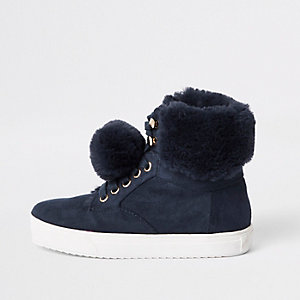 Girls navy suede faux fur pom hi top trainers