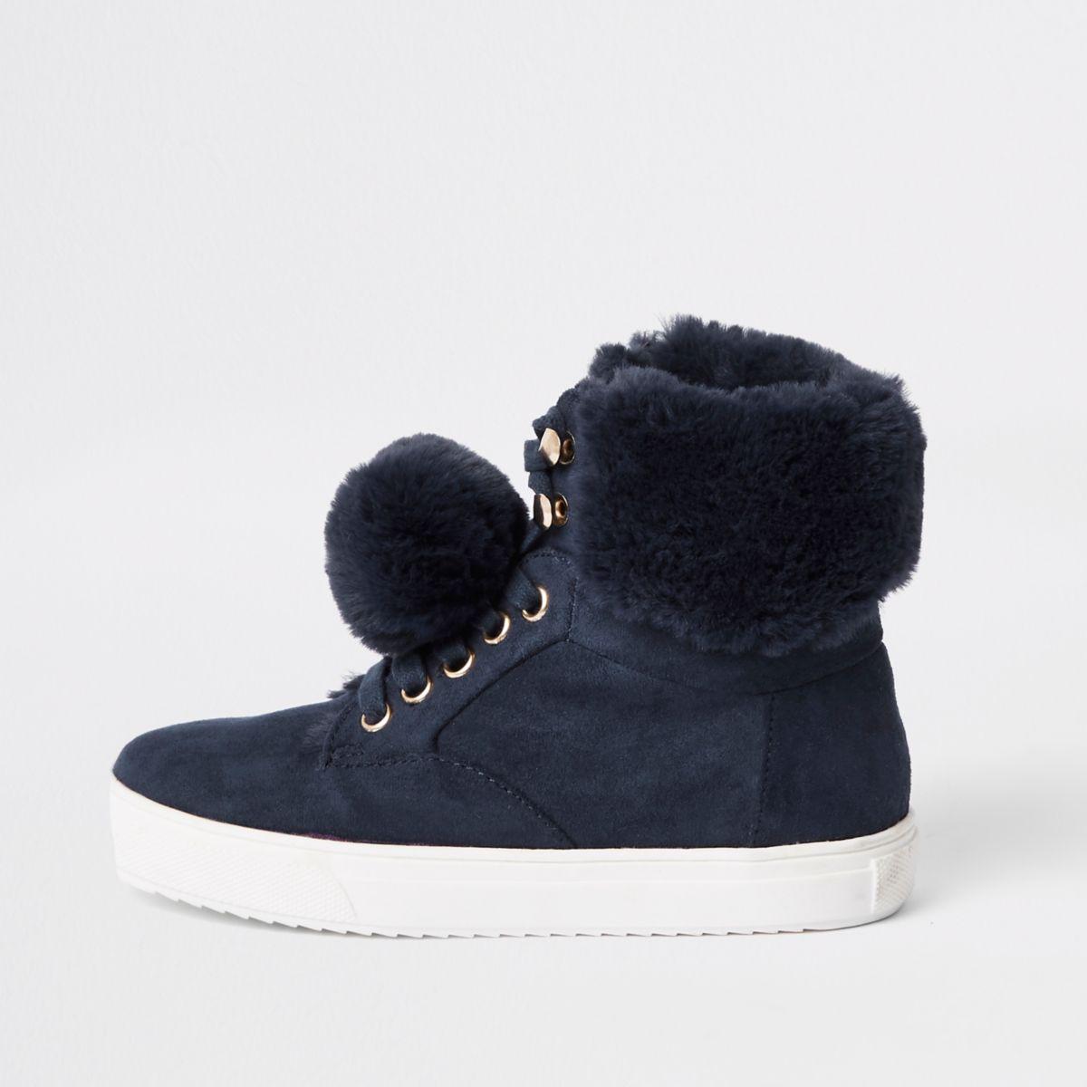 Girls navy suede faux fur pom hi top sneakers