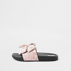 Girls pink velvet bow sliders