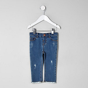 Mini girls blue straight leg frayed hem jeans
