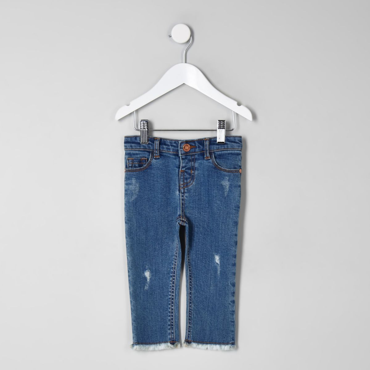 Mini girls blue straight leg frayed hem jeans