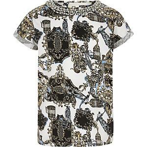 RI 30 - Wit geborduurd T-shirt met print voor meisjes
