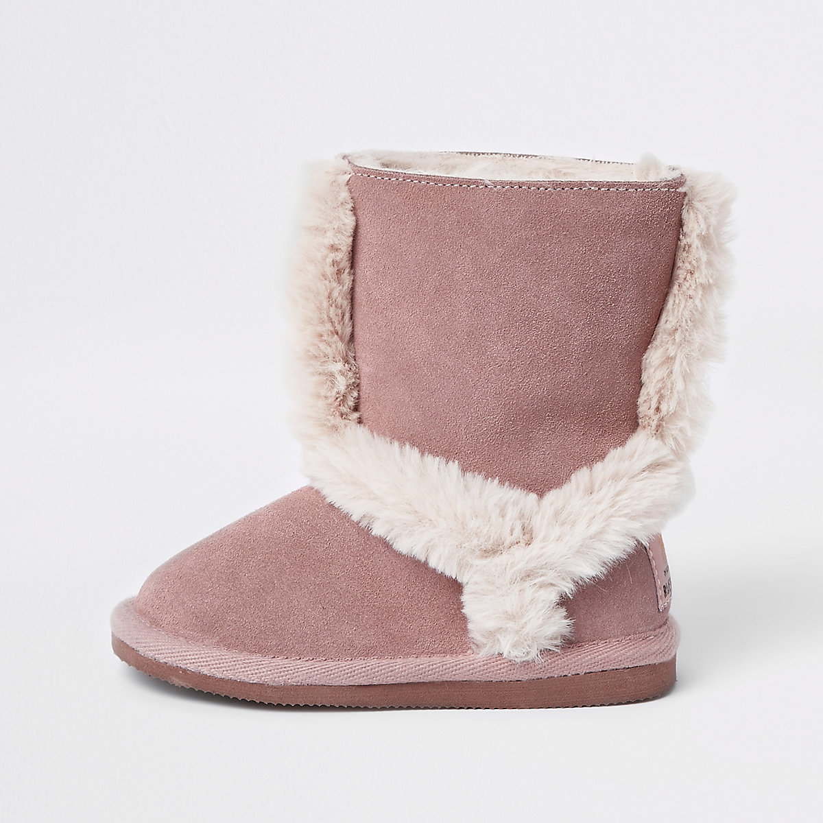 Mini girls pink suede fur lined ankle boots