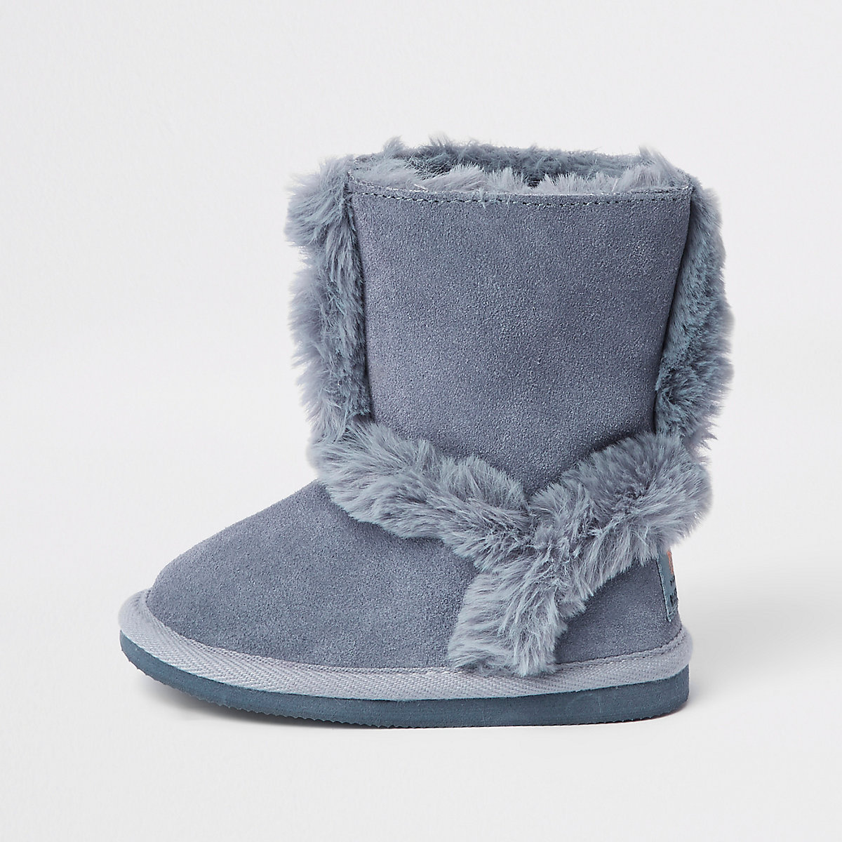 Mini girls blue suede fur lined ankle boots