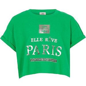 Groen kort T-shirt met 'Paris'-print voor meisjes