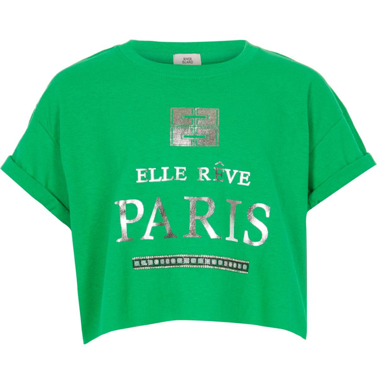 Girls green 'Paris' crop T-shirt
