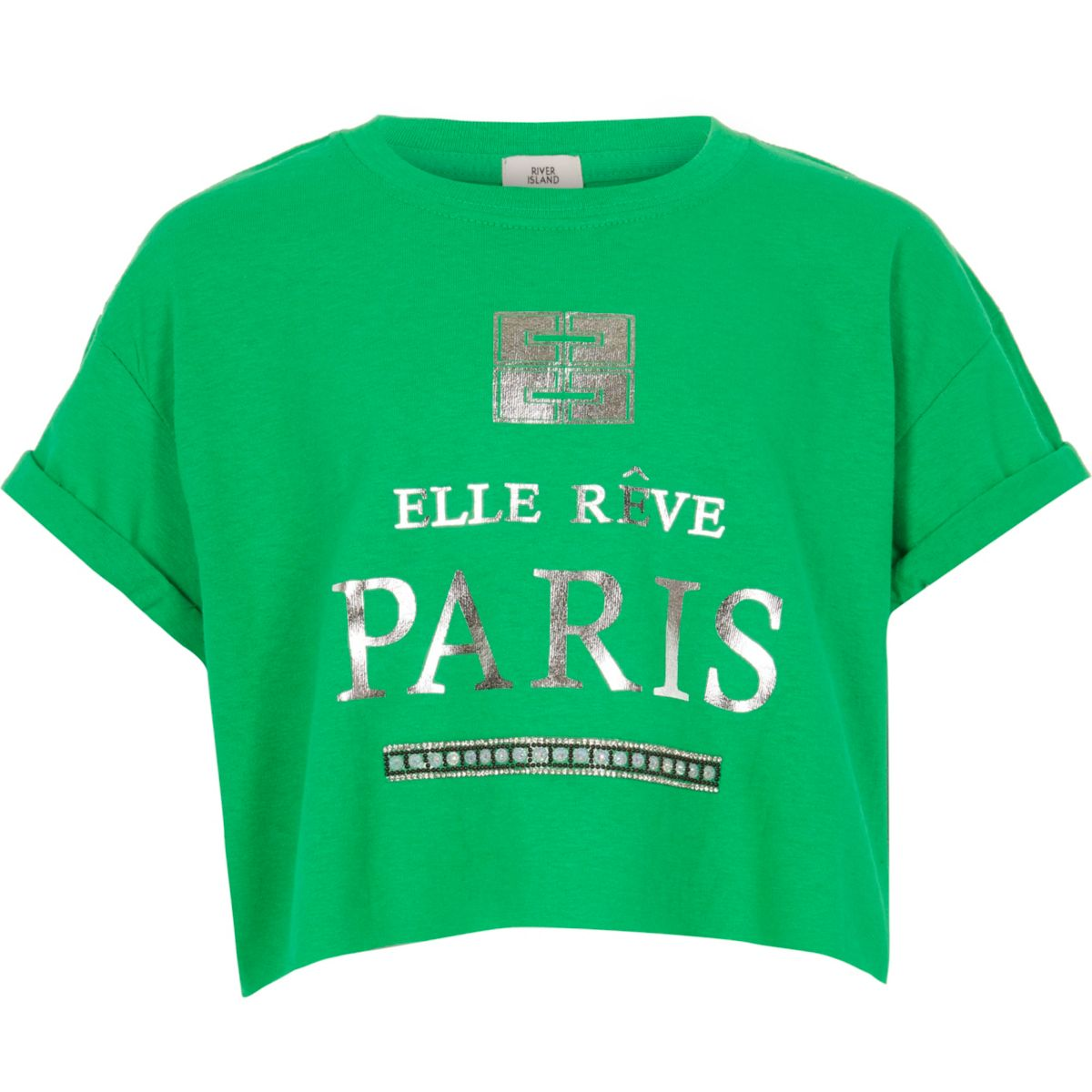 Girls green 'Paris' crop T-shirt
