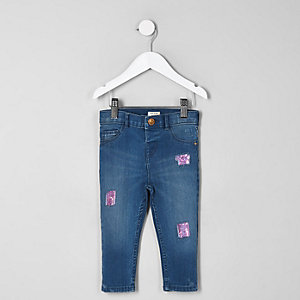 Mini girls blue Amelie sequin patched jeans