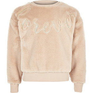 Girls cream faux fur sweater
