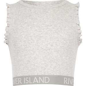 Girls grey marl frill RI hem crop top