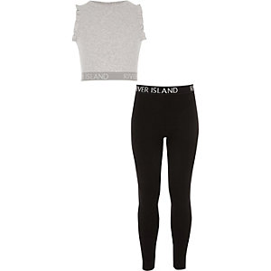Girls grey ruffle crop and legging outfit
