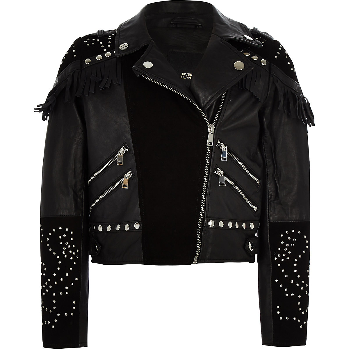 RI 30 girls black studded biker jacket
