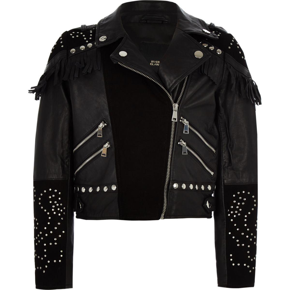 RI 30 girls black studded biker jacket