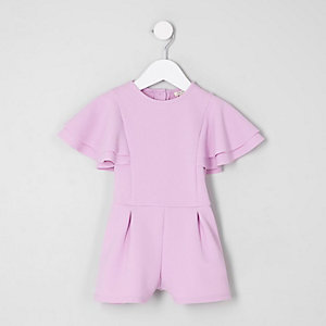 Mini girls lilac frill sleeve playsuit