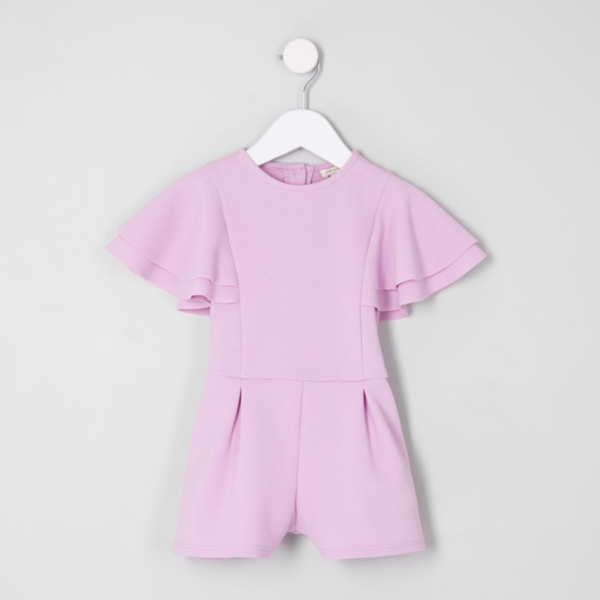Mini girls lilac frill sleeve playsuit