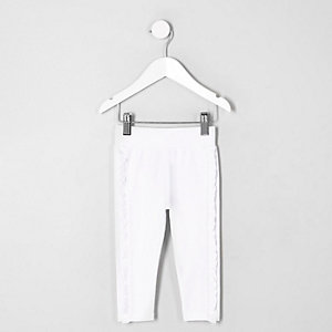 Mini girls white ruffle side leggings